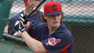 Cleveland Indians' Clint Frazier takes batting practice before the Indians play the Washington Nationals in a baseball game, Saturday, June 15, 2013, in Cleveland. Frazier is the 5th overall selection in the first round of the 2013 First-Year player draft. (AP Photo/Tony Dejak)